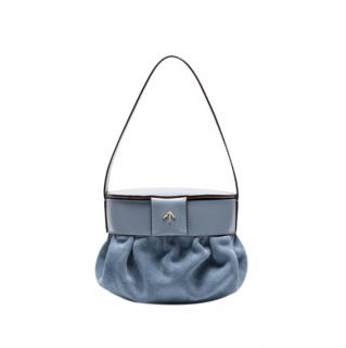 Manu Atelier Pouched suede & leather blue bucket bag