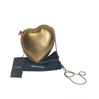 Saint Laurent Gold Love Box Crossbody Bag