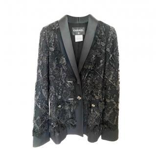 Chanel Black Embellished Lesage Lace Tailored Jacket