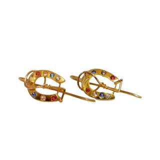 Bespoke Victorian Revival Gold Horseshoe Earrings with Precious Stones