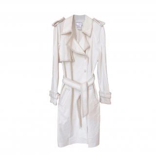Chanel Embellished Tweed Trimmed Ecru Trench Coat