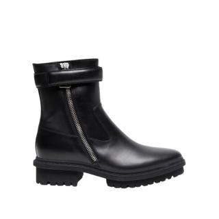Balenciaga Black Leather Combat Boots