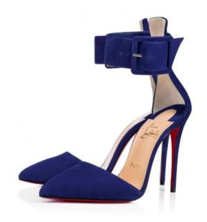 Christian Louboutin Harler 100 Veau Velours 100 Atlantic Blue Sandals