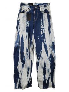 DSquared2 Bleached Fishnet Wide Leg Jeans