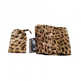 Roberto Cavalli Lurex Leopard Print Silk Scarf 70