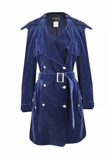 Chanel Blue Velvet Belted Trench Coat