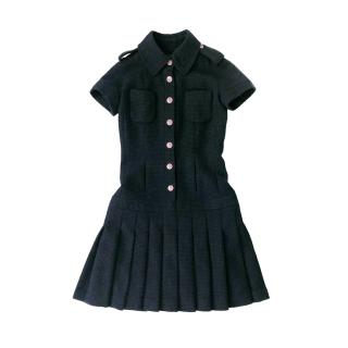 Chanel Navy & Black Tweed Military Style Pleated Dress