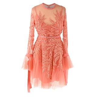 Elie Saab Coral Embroidered Lace Long Sleeve Skater Dress