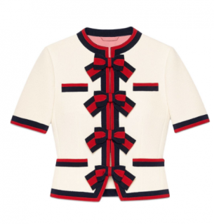 Gucci Cream Web Bow-Trimmed Wool Crepe Jacket