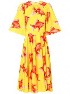 Dolce & Gabbana Romantic Yellow Silk Fish Print Charmeuse Tea dress
