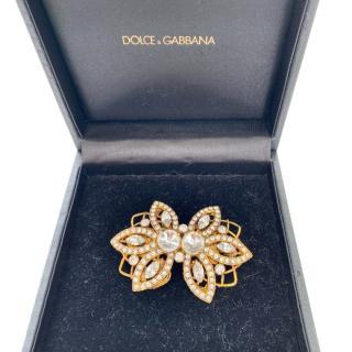 Dolce & Gabbana crystal embellished metal brooch 7x5 cms