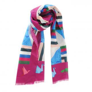Etro multi coloured silk blend shawl/scarf 170 x 45cms