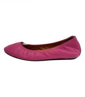 Lanvin pink leather ballet flats