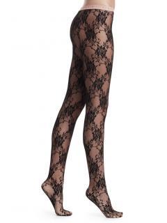 Gucci black floral lace seam tights
