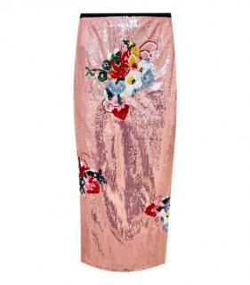 Erdem pink Sacha sequinned skirt