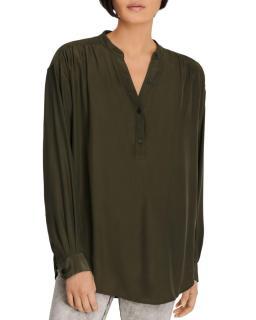 J Brand Jazlyn Olive Silk Blouse