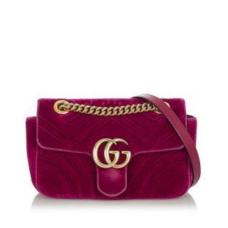 Gucci Purple GG Marmont Matelasse Velvet Crossbody Bag