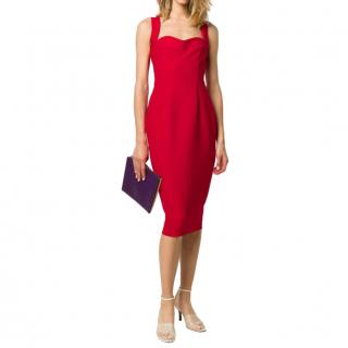 Victoria Beckham Red Crepe Sweetheart Pencil Dress