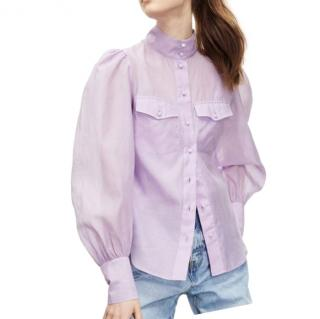 The Kooples Lilac Sheer Puff Sleeve Blouse