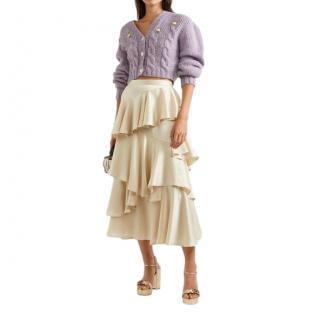 Alexa Chung Champagne Satin Tiered Skirt