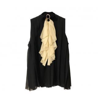 Gucci black silk sleeveless top