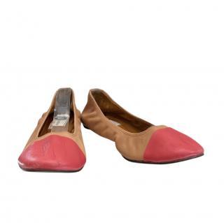 Lanvin Bi-Colour Stretch Leather Ballerinas