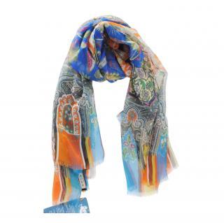 Etro Silk Multicoloured Paisley Print Silk Scarf