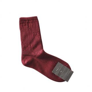 Gucci Burgundy Supreme Monogram Socks