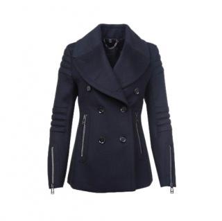 Belstaff Navy Wool & Cashmere Zipper Detail Peacoat