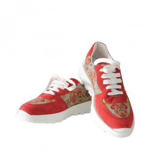 Etro Floral Print & Red Suede Low Sneakers