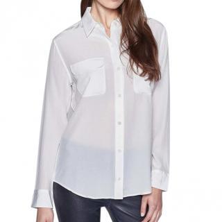Equipment White Sheer Signature Silk Blouse