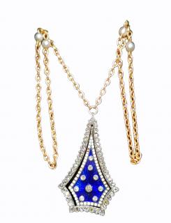 Bespoke Georgian Diamond Set Enamel Guilloche Pendant Necklace