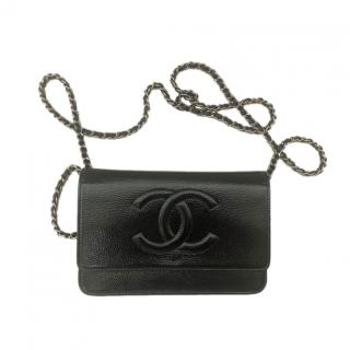 Chanel Black Vintage Patent Leather CC Wallet On Chain
