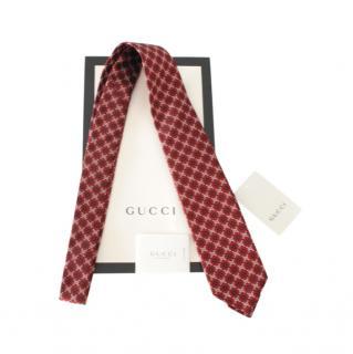 Gucci Burgundy GG Printed Silk Tie