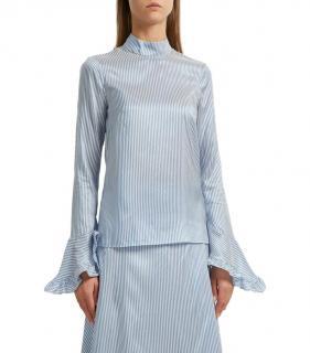 Erdem Silk Blue striped Lindsey top