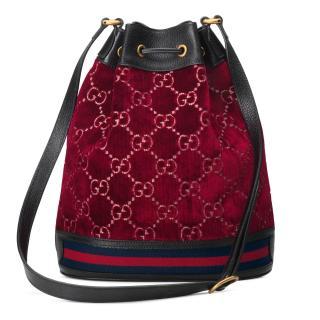 Gucci Red GG Velvet Bucket Bag
