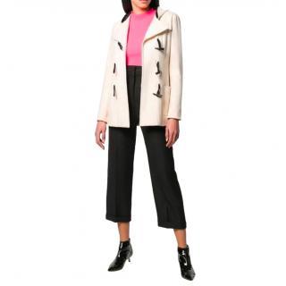 Chanel Ecru & Black Cashmere Hooded Duffle Coat