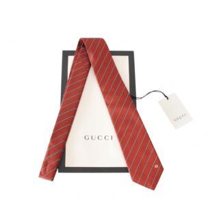 Gucci Burgundy Silk Diagonal Striped Tie
