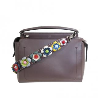Fendi Taupe Dotcom Bag with Floral Strap