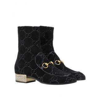 Gucci Black GG Velvet Horsebit Boot With Crystals