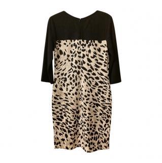St. John Wool Blend Leopard Jersey Dress