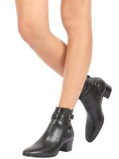 Saint Laurent Black Leather Jodhpur 40 Ankle Boots
