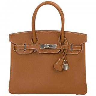 Hermes Gold Epsom Leather Birkin 30 PHW