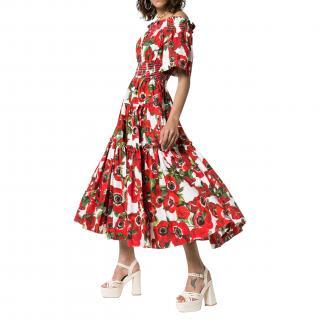 Dolce & Gabbana Floral-Print Off-Shoulder Cotton Dress