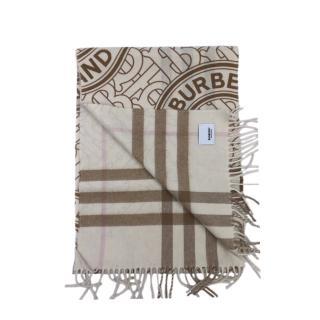 Burberry Cashmere Check/Monogram Reversible Scarf