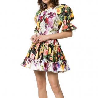 Dolce & Gabbana Floral Print Puff Sleeve Cotton Mini Dress