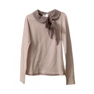 Fendi Pink Cotton Blend Bow Applique Top