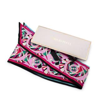 Emilio Pucci Pink Multicolour Abstract Print Silk Twill Scarf