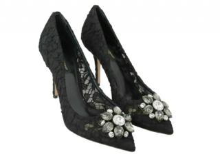 Dolce & Gabbana Black Crystal Lace Belluci Pumps