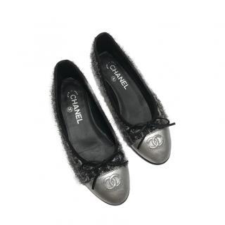 Chanel Tweed Silver Cap-Toe Ballerinas
